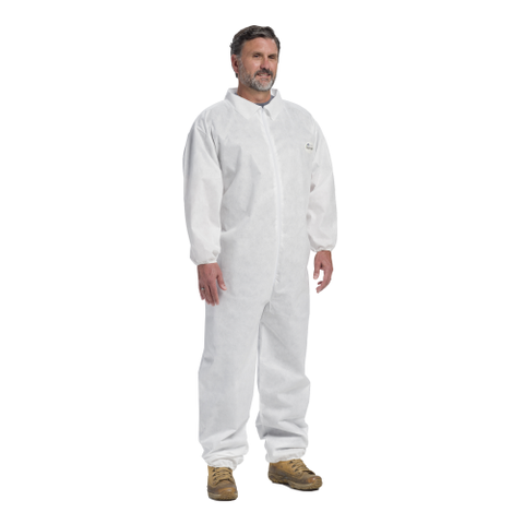 WC-C3802 Posi-Wear M3 - White SMMMS Coverall, zipper front w/Elastic Wrist and Ankle - Free Shipping on $50 orders