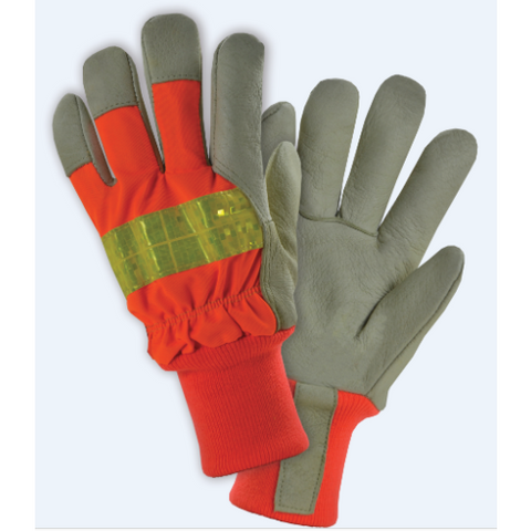 WC-HVO1555 Premium Grain Pigskin Palm, Hi-Vis Orange Polyester Back, 100g Thinsulate lining, Knit Wrist, 3M Scotchlite Tape - Free Shipping on $50 orders