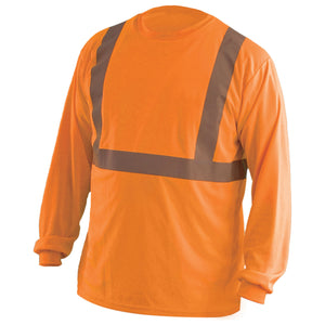 OccuNomix LUX-LSET2B Type R Class 2 Long Sleeve Wicking Birdseye Mesh Safety T-Shirt - Yellow/Orange