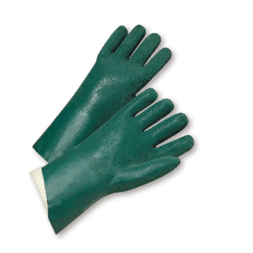 "J1227RF Chemical Glove, 12"", Pvc, Rough, Jersey Lined, Green, 12 Pair"