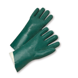 "Chemical Gloves - Chemical Glove,J1227rf 12"", Pvc, Rough, Jersey Lined, Green, 12 Pair"