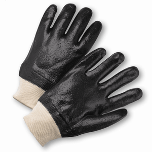 Chemical Gloves - West Chester 1007RF, PVC, Knit Wrist Chemical Glove, Rough Finish, 12 Pair