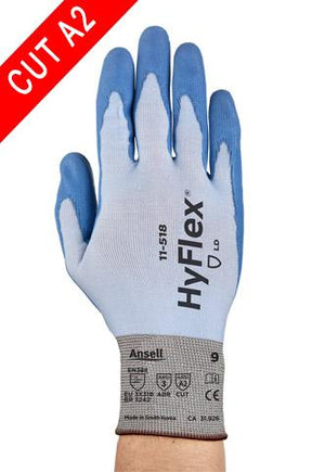 Coated Gloves - Ansell HyFlex 11-518,12 Pair, PU Coated, A2 Cut Resistant, Dyneema