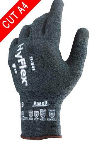 Coated Gloves - Ansell HyFlex 11-541, 12 Pair, Level 4 Cut Resistant, Nitrile Coated Gloves