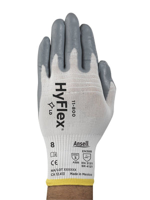 Coated Gloves - Ansell HyFlex 11-800,12 Pair, Nitrile Coated Safety Gloves