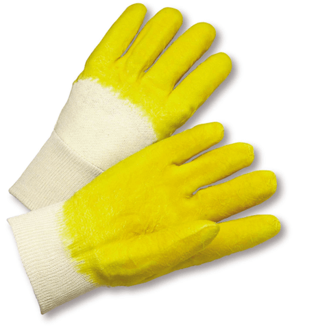 Coated Gloves - West Chester 3001 Knit Wrist Natural Rubber, Crinkle Finish, Jersey Lined