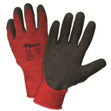 Coated Gloves - West Chester 701CRLB 10 Gauge. Red Poly/Cotton With Black Latex Crinkle Palm Coat: EN388 3142, ANSI Cut Level 1, 480 Grams