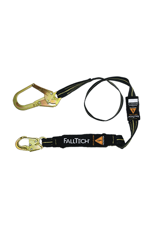 Connectors - FallTech 6' Single Leg Arc Flash FR Lanyard; Steel Snap Hook Tie-Off, Rebar Hook
