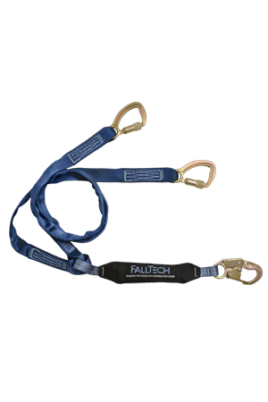 Connectors - FallTech 6' Tie-Back Y-Leg Lanyard; Snap Hook And 5,00Dlb Carabiners; 100% Tie-Off