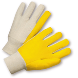 Cotton/Canvas Gloves - West Chester 205, Knit Wrist, Canvas Glove, Yellow Vinyl Coated Palm, 12PK