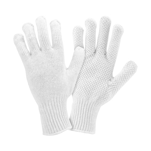 West Chester K708SKW, White String Knit Gloves, White Dots, 12 Pair