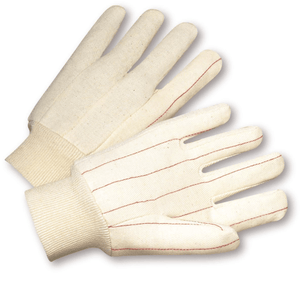 Cotton/Canvas Gloves - West Chester K81SNI, Knit Wrist Cotton Gloves, Nap In, 12 Pair