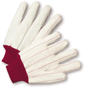 Cotton/Canvas Gloves - West Chester K81SPNJRI, Chore Glove, Red Knit Wrist, Poly/Cotton Nap In Glove, 12 Pair