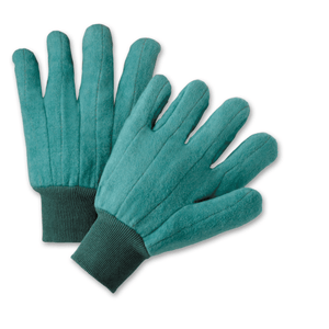 Cotton/Canvas Gloves - West Chester KG22SI, Chore Glove, Knit Wrist, Green, 12 Pair