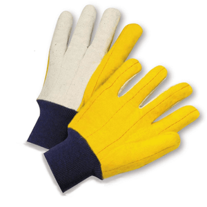 Cotton/Canvas Gloves - West Chester M18KW, Chore Glove, Knit Wrist Yellow Palm, Canvas Back, 12 Pair