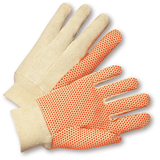 Cotton/Canvas Gloves - West Chester SOK01PDI, Knit Wrist Canvas Gloves With Orange PVC Dots 12 Pair