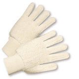 Cotton/Canvas Gloves - West Chester T24KW, Cotton Knit Wrist Terry Cloth Glove, Loop Out, 12 Pair