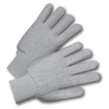 Cotton/Canvas Gloves - West Chester T24KWG, Gray Terry Cloth Glove, Loop-out, Knit Wrist, 12 Pair