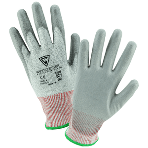 Cut Resistant Gloves - West Chester 710HGU 10 Gauge HPPE /High Performance Yarn, Gray PU Coated Palm: ANSI Cut A4 Level