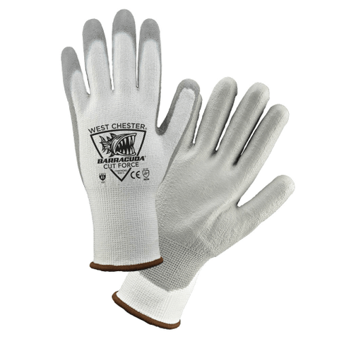Cut Resistant Gloves - West Chester 713CFHGWU White HPPE A5 Cut Resistant PU Polyurethane Coated 12 Pair