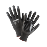 Cut Resistant Gloves - West Chester 713HGBU Black HPPE A1 Cut Resistant W/Black PU Coated Palm- 12 Pair