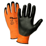 Cut Resistant Gloves - Zone Defense 703COPB 10 Gauge. Orange HPPE/High Performance Yarn /Nylon/Lycra Shell With Black PU Palm Coat: EN388 4343, ANSI A2 Cut Level