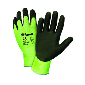 Cut Resistant Gloves - Zone Defense 705CGNF A3 Hi-Viz Cut Resistant Nitrile Gloves- 12 Pair