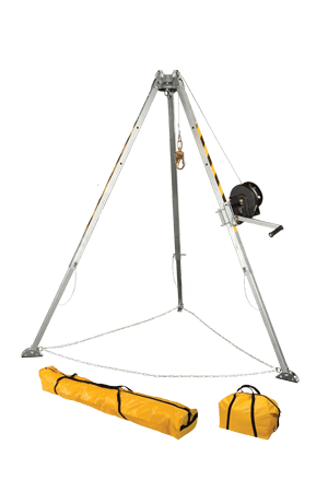Devices And Accessories - FallTech 7507 Confined Space Tripod Kit W/60' Winch, Leg Bracket, And Storage Bags