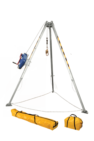 Devices And Accessories - FallTech 7508 6'-8' Confined Space Tripod Kit, 60' SRL-R, Storage Bags- Free Shipping