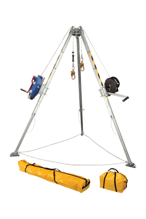 Devices And Accessories - FallTech 7509 Confined Space Adjustable Tripod Kit W/ 60' Winch; 60' Retrieval SRL