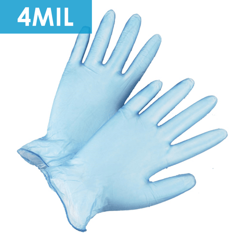 Disposable Gloves - Disposable Gloves-2710 Lightly Powdered Blue Vinyl, Industrial Grade, 4 Mil, 100/ Box.