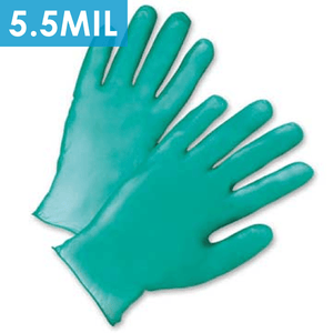 Disposable Gloves - Disposable Gloves-2765 Lightly Powdered Green Vinyl, Heavy Duty 5.5 Mil - 100/box.