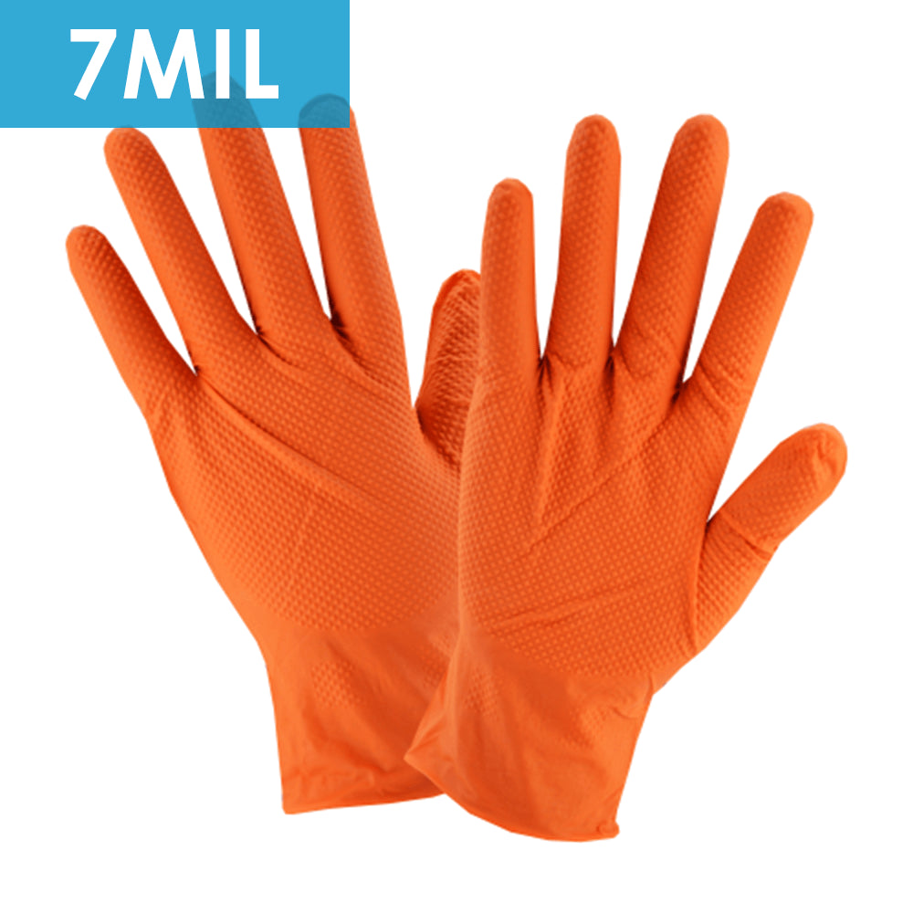 Disposable Nitrile Gloves, 2940, Orange 7MIL, Diamond Texture 100/BX