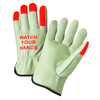 Drivers Gloves - West Chester 995kot, Leather Driver Glove, Orange Fingertips, Watch Your Hands, 12 Pair