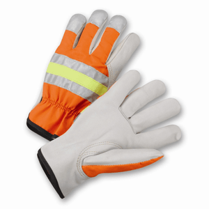 Drivers Gloves - West Chester Hvo990k Leather Hi-Viz Driver Driver Glove, 12 Pair