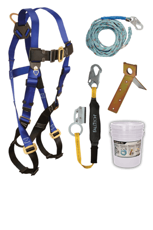 Fall Protection Kits - FallTech 8592A Roofers Kit FT Basic, Harness, Lanyard/Rope Grab, Lifeline, Anchor