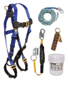 Fall Protection Kits - FallTech 8593A Roofers Kit, Harness, Lanyard/Rope Grab, Lifeline, Anchor