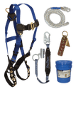 Fall Protection Kits - FallTech 8595A Roofers Kit, Harness, Lanyard/Rope Grab, Lifeline, Anchor