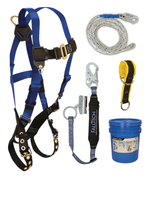 Fall Protection Kits - FallTech 9103JK Roofers Kit, Harness, Lanyard/Rope Grab, Lifeline, 6' Sling Anchor