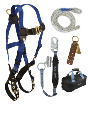 Fall Protection Kits - FallTech Residential Roofers Kit 8595RA, Harness, Lifeline, Lanyard/Grab, Anchor