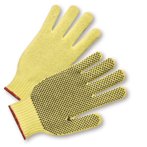 Gloves - West Chester 35KD 7 Gauge - Reg Weight 1 Sided Dot Kevlar Glove•ANSI 3 Cut