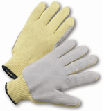 Gloves - West Chester 35KJYD 100% Aramid Knit W/Leather Palm & Fingers. ANSI A6 Cut Level