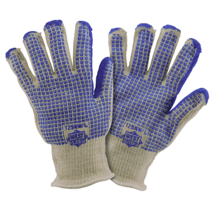 Heat Resistant Gloves - Hot Mill Glove, T25NW, Reversible, Blue Nitrile W Pattern