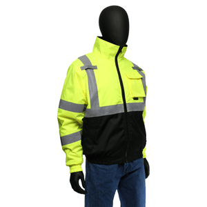 Hi-Viz - On Sale! Bomber Jacket West Chester, 47502 Black Bottom Hi-Viz Reflective, Class 3