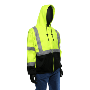 Hi-Viz - On Sale! Class 3 Hi-Viz Hoodie, 47500/47501, Black Bottom Zip-Up Hooded Sweatshirt