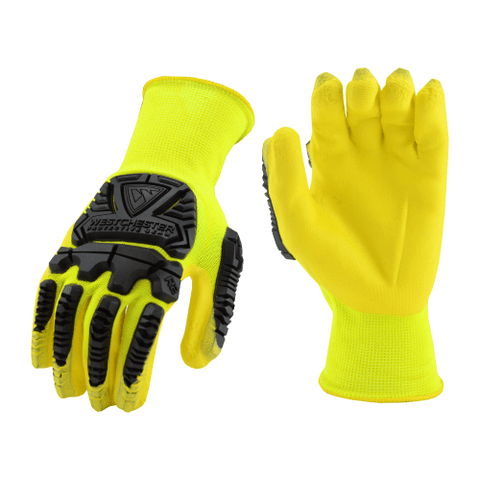 Impact Gloves - Impact Glove, HVY713NFB Nitrile Coated Palm, Hi-Viz, PAIR