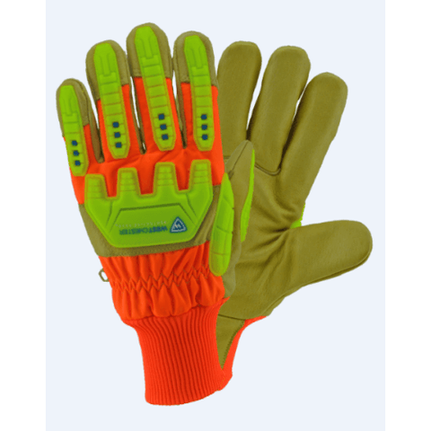 Impact Gloves - Leather Impact Gloves, Hvo2555, Waterproof, Hi-Viz, 12 Pair