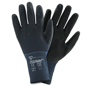 Latex Coated Gloves - West Chester 715SLC, PosiGrip Black Latex Crinkle, 3/4 Coat, 12 Pair