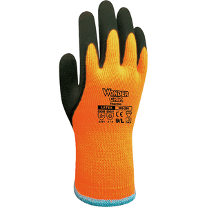 Latex Coated Gloves - Wonder Grip WG-380 Thermo, Double Latex Palm Cold Weather Glove 12 Pair