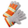 Leather Palm Gloves - West Chester HVO500, Hi-Vis Leather Gloves, Rubberized Cuff, Reflective 12 Pair